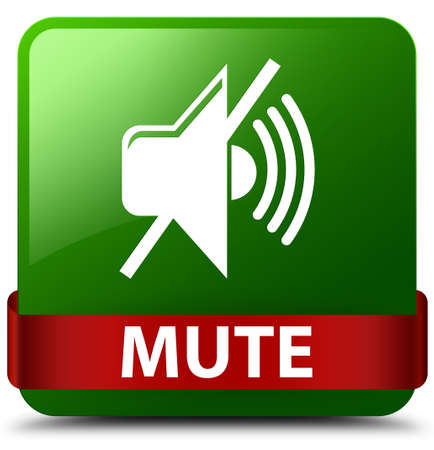 Mute isolated on green square button with red ribbon in middle abstract illustration