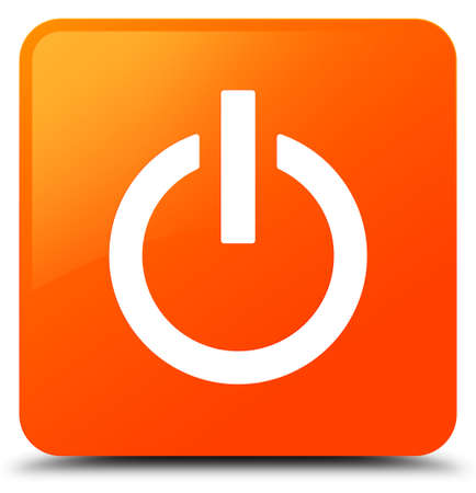 Power icon isolated on orange square button abstract illustration