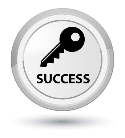 Success (key icon) isolated on prime white round button abstract illustration