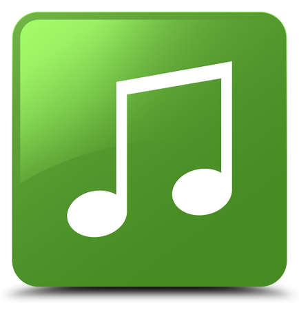 Music icon isolated on soft green square button abstract illustration Stock Photo