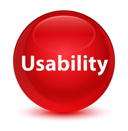 Usability isolated on glassy red round button abstract illustration Stock Photo