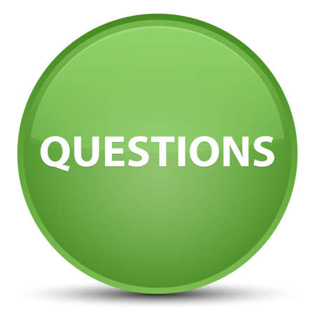 Questions isolated on special soft green round button abstract illustration Stock Photo