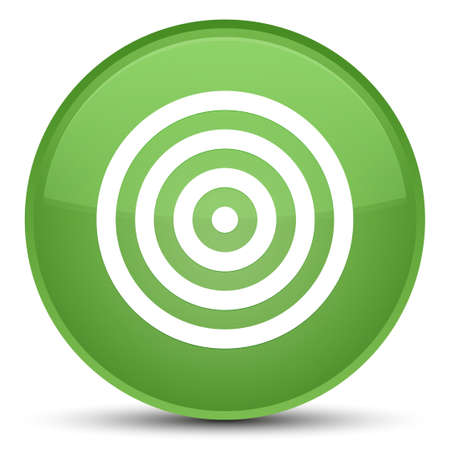 Target icon isolated on special soft green round button abstract illustration