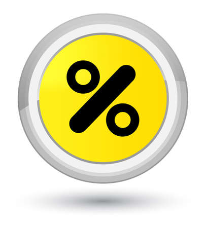 percent sign: Discount icon isolated on prime yellow round button abstract illustration Stock Photo