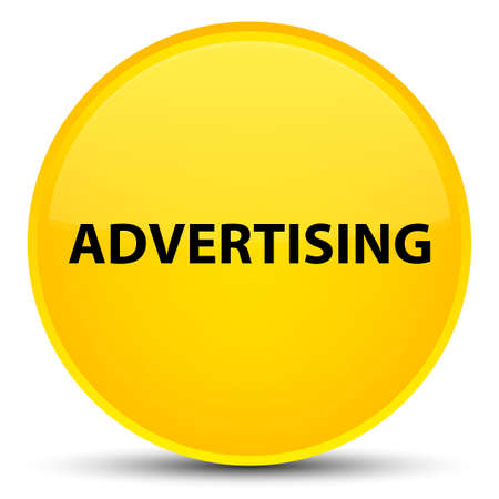 Advertising isolated on special yellow round button abstract illustration Stock Photo