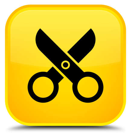 Scissors icon isolated on special yellow square button abstract illustration