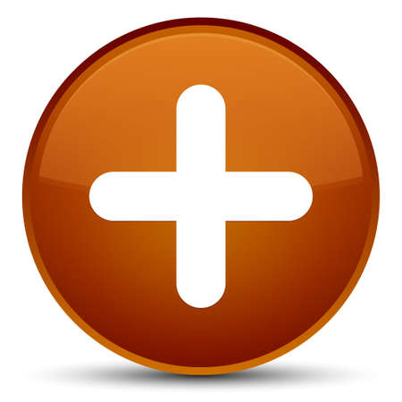 Plus icon isolated on special brown round button abstract illustration