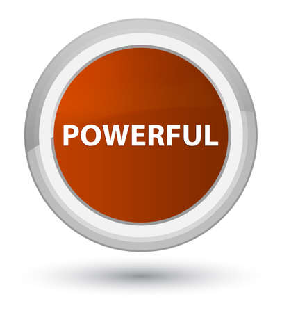 Powerful isolated on prime brown round button abstract illustration 版權商用圖片