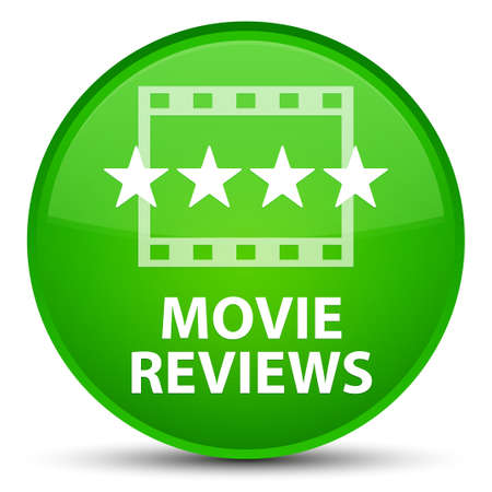 Movie reviews isolated on special green round button abstract illustration