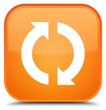 Update icon isolated on special orange square button abstract illustration