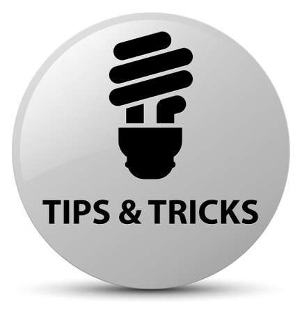 Tips and tricks (bulb icon) isolated on white round button abstract illustration