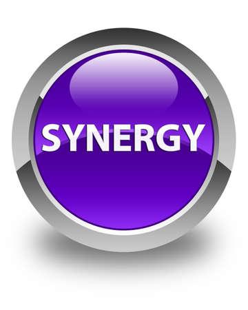 Synergie op glanzende purpere ronde knoop abstracte illustratie die wordt geïsoleerd Stockfoto