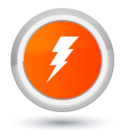 Electricity icon isolated on prime orange round button abstract illustration