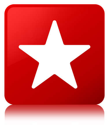 Star icon isolated on red square button reflected abstract illustration