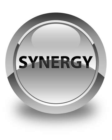 Synergie op glanzende witte ronde knoop abstracte illustratie die wordt geïsoleerd