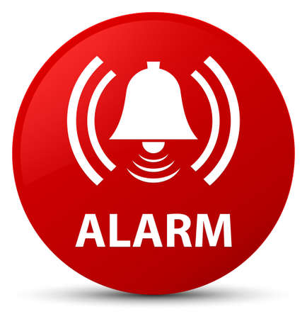 Alarm (bell icon) isolated on red round button abstract illustration Stock Photo