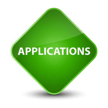 Applications isolated on elegant green diamond button abstract illustration Stock Photo