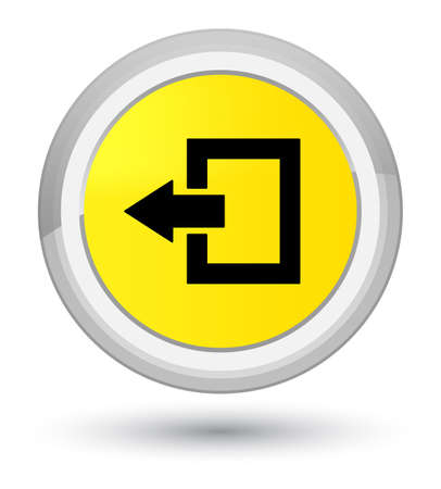 Logout icon isolated on prime yellow round button abstract illustration