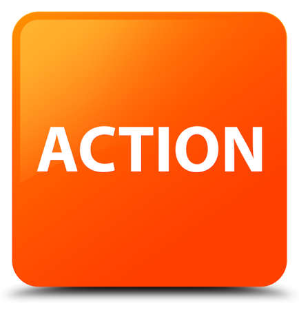 Action isolated on orange square button abstract illustration Stock Photo