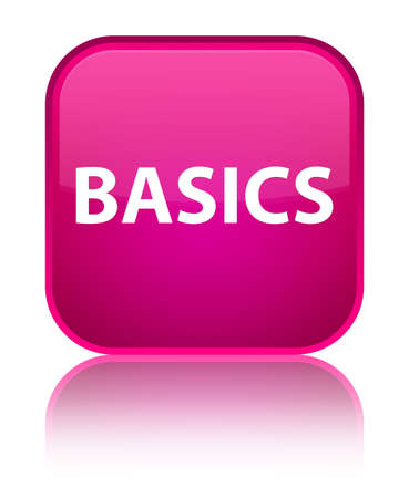 Basics isolated on special pink square button reflected abstract illustration