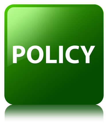 Policy isolated on green square button reflected abstract illustration