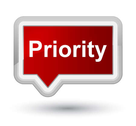 Priority isolated on prime red banner button abstract illustration
