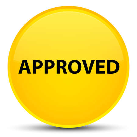 Approved isolated on special yellow round button abstract illustration Stock Photo
