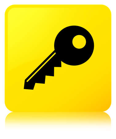 Key icon isolated on yellow square button reflected abstract illustration