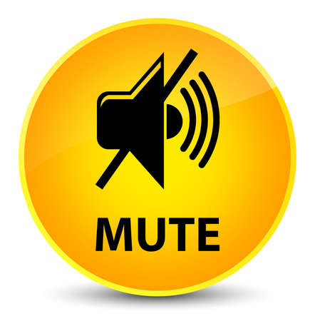 Mute isolated on elegant yellow round button abstract illustration Stock Photo