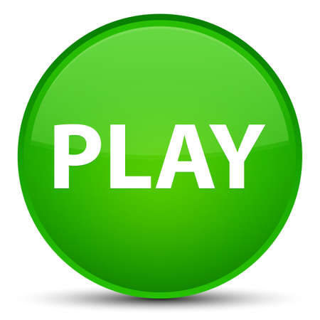 Play isolated on special green round button abstract illustration