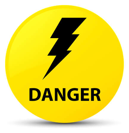 Danger (electricity icon) isolated on yellow round button abstract illustration
