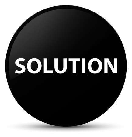 Solution isolated on black round button abstract illustration