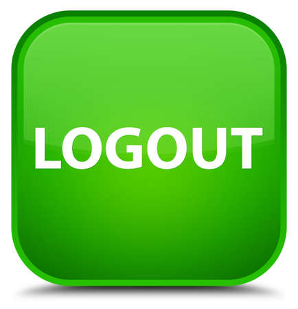 Logout isolated on special green square button abstract illustration