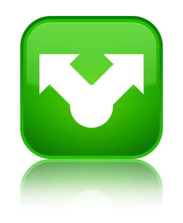 Share icon isolated on special green square button reflected abstract illustration