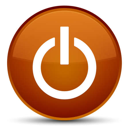 Power icon isolated on special brown round button abstract illustration
