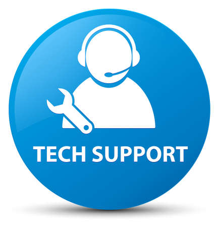 Tech support isolated on cyan blue round button abstract illustration Stock Photo