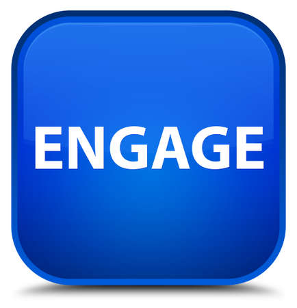Engage isolated on special blue square button abstract illustration Banco de Imagens