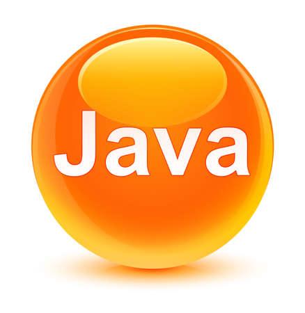 ガラス状のオレンジ色の丸いボタンの抽象的なイラストに分離された Java
