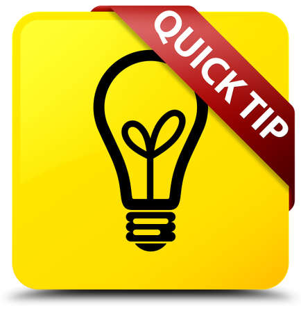 Quick tip (bulb icon) isolated on yellow square button with red ribbon in corner abstract illustration