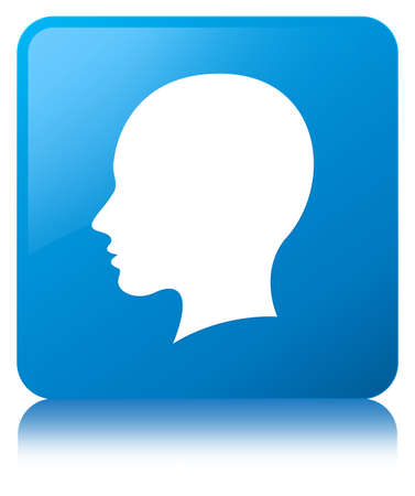 Head female face icon isolated on cyan blue square button reflected abstract illustration
