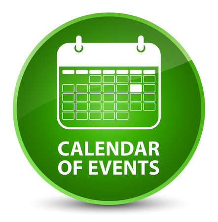 Calendar of events isolated on elegant green round button abstract illustration