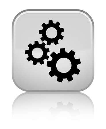 Gears icon isolated on special white square button reflected abstract illustration Stock Photo