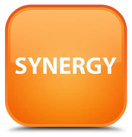 Synergie op speciale oranje vierkante knoop abstracte illustratie die wordt geïsoleerd