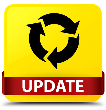 중간 추상 그림에서 빨간 리본 함께 노란색 사각형 버튼에 고립 된 업데이트 (새로 고침 아이콘)