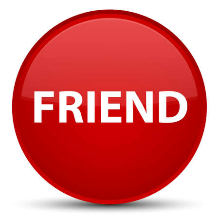 Friend isolated on special red round button abstract illustration Stock Photo