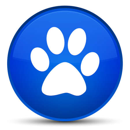 Animal footprint icon isolated on special blue round button abstract illustration Stock Photo