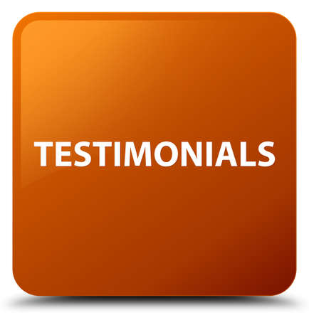 Testimonials isolated on brown square button abstract illustration Stock Photo