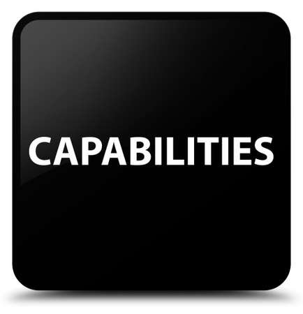 Capabilities isolated on black square button abstract illustration