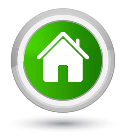 prime: Home icon isolated on prime green round button abstract illustration