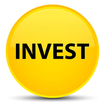 Invest isolated on special yellow round button abstract illustration Stock Photo